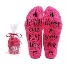 49. Bring Me Wine Fuzzy Pink Socks