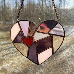 60. Stained Glass Patchwork Heart Suncatcher