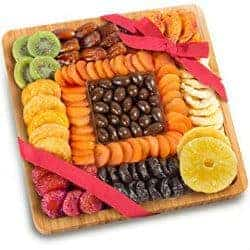 61. Dried Fruit and Chocolate Nuts On Bamboo Cutting Board Serving Tray