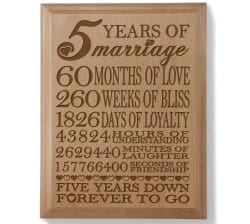 Gifts For Girlfriend - Anniversary Engraved Natural Wood Plaque