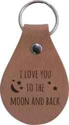 58. I Love You to The Moon and Back Leather Key Chain