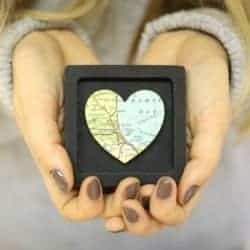 69. Custom Map Heart print miniature frame