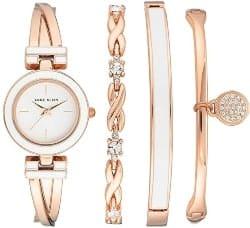 Anne Klein Women's Bangle Watch and Swarovski Crystal Accented Bracelet Set (1)