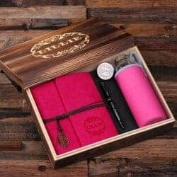 Gift Ideas for Wife - Personalized Felt Journal, Water Bottle, Pen And Wood Box