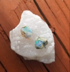 Mini Raw Opal Cluster Stud Earrings (1)