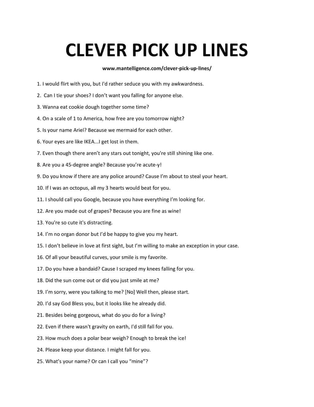 Downloadable and Printable List of Clever Pick Up Lines