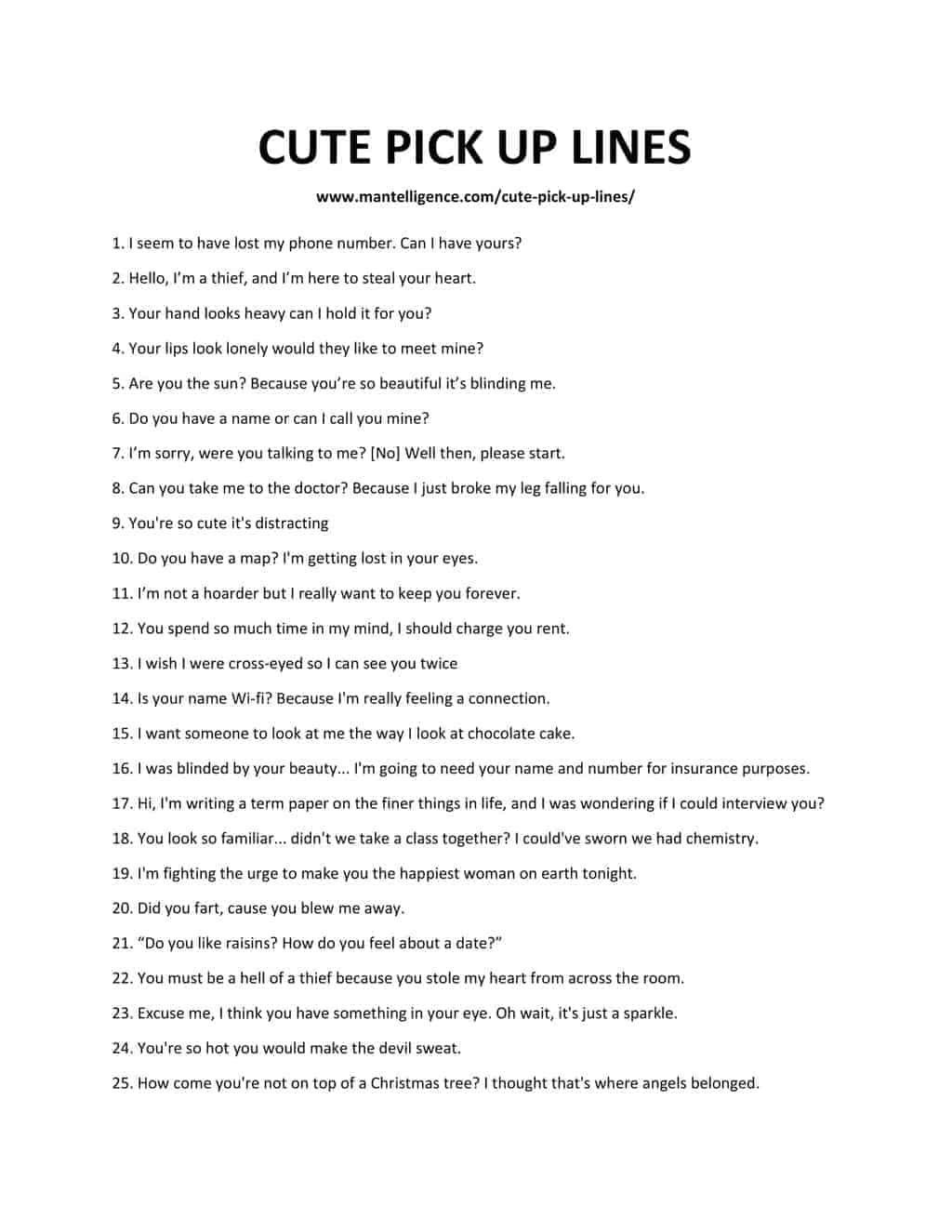 82 Best Cute Pick Up Lines These Lines Will Make Her Smile