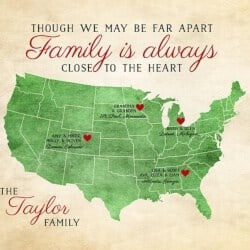 Long Distance Family Map