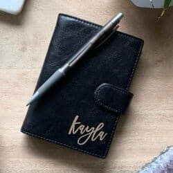 Personalized Leather Pocket Journal Script