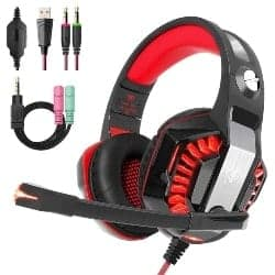 gaming accessories - Beexcellent Gaming Headset for PS4 PC Xbox One, Over Ear Gaming Headphones with Stereo Surround Sound, LED Light, Noise Cancelling Mic for Mac Laptop