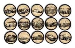manly gifts - Antique Cars Newsprint Dresser Drawer Pulls
