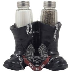 manly gifts - Biker Boots Glass Salt and Pepper Shaker Set