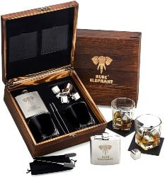 Premium Stainless Steel Whiskey Stones and Hip Flask Gift Set (1)