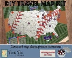 gifts for men who have everything - DIY Baseball Adventures Push Pin Travel Map Kit