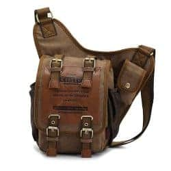 gifts for men who have everything - Men's Brown Canvas Leather Single Shoulder Cross Body Bag