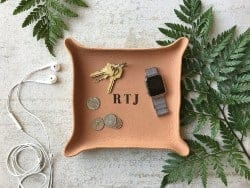 gifts for men who have everything - Monogram Leather Tray