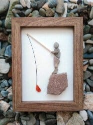 gifts for men who have everything - Pebble Art Fisherman