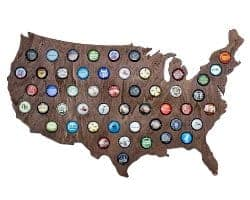 gifts for men who have everything - USA Beer Cap Map with Dark Stain