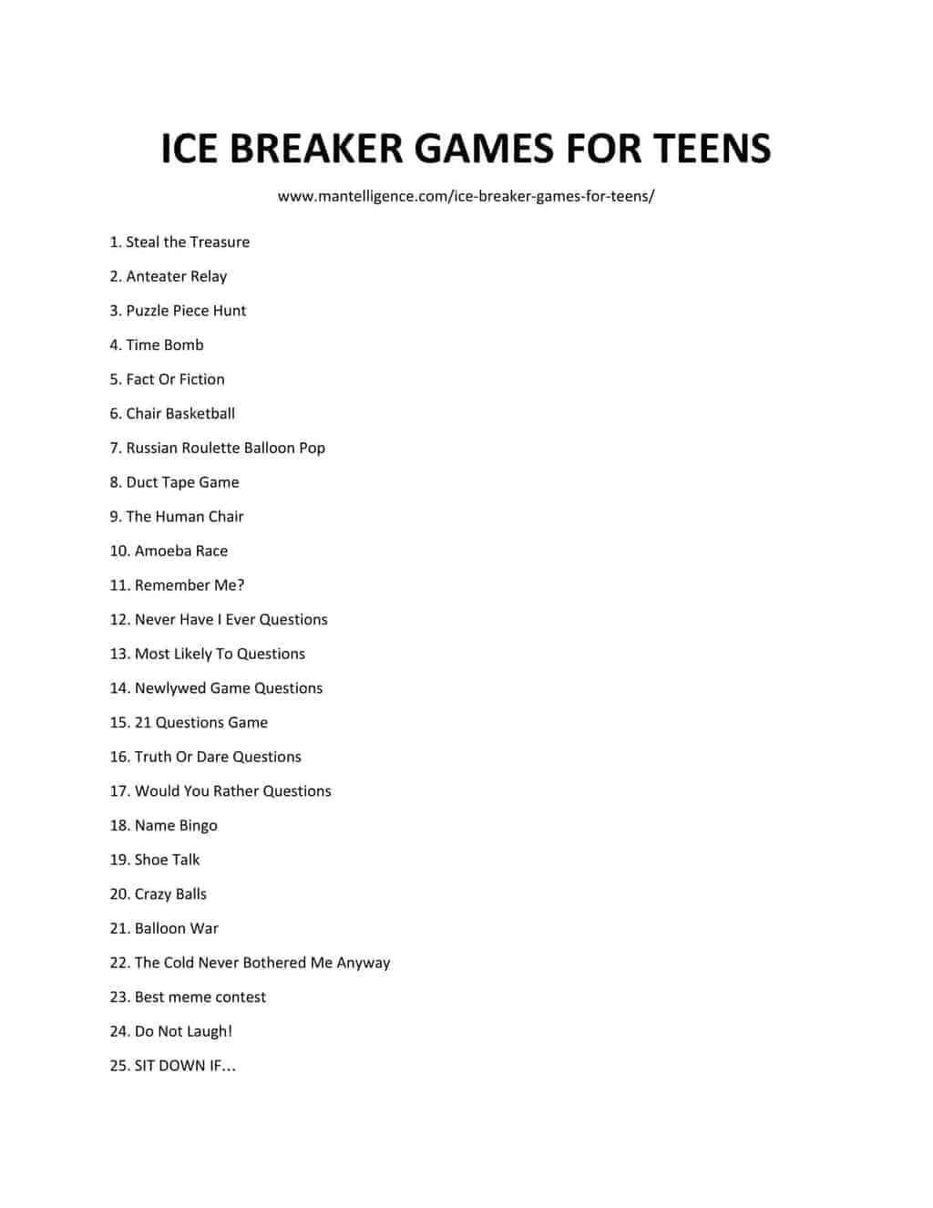 List of ICE BREAKER GAMES FOR TEENS 3