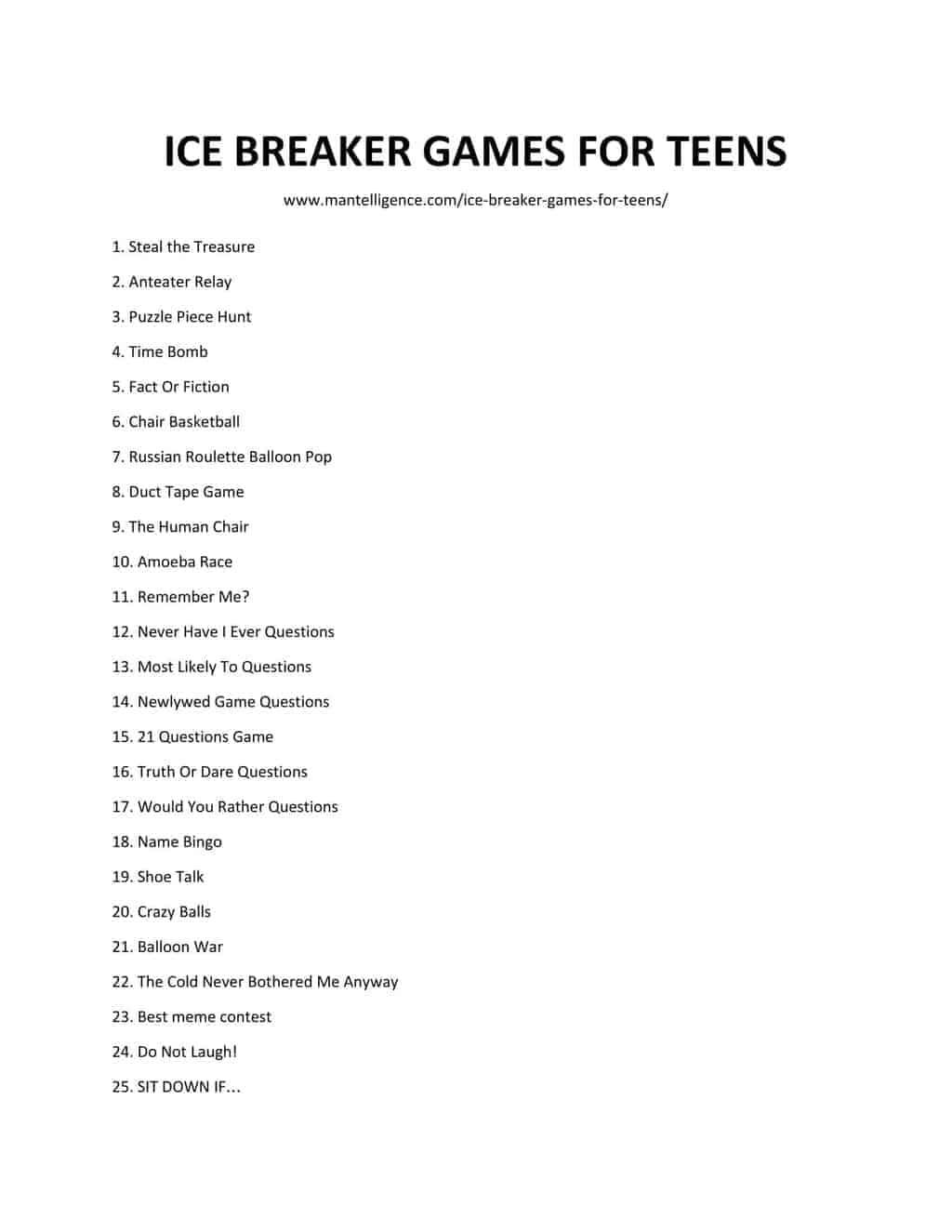 List of ICE BREAKER GAMES FOR TEENS 3