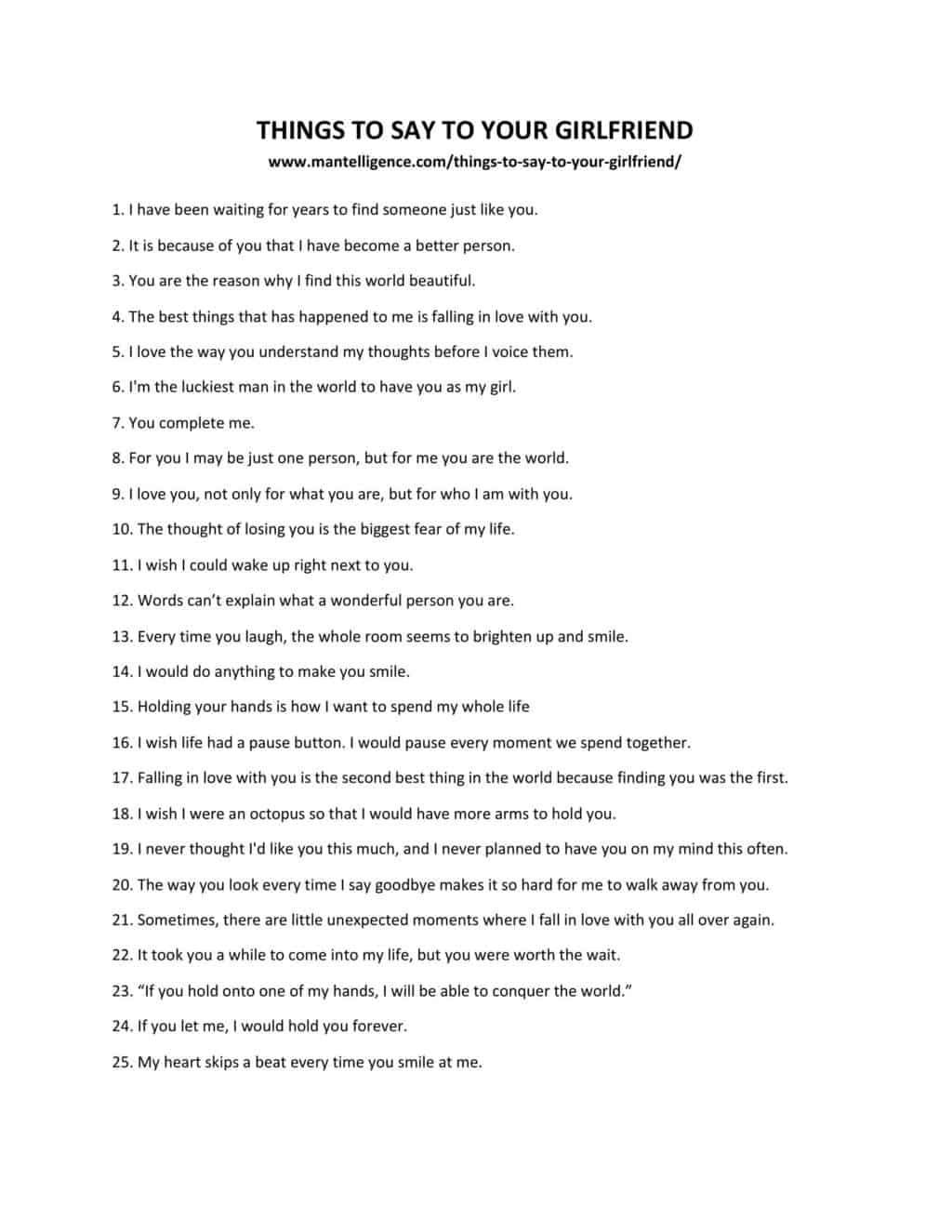 Things to say to make your girlfriend happy