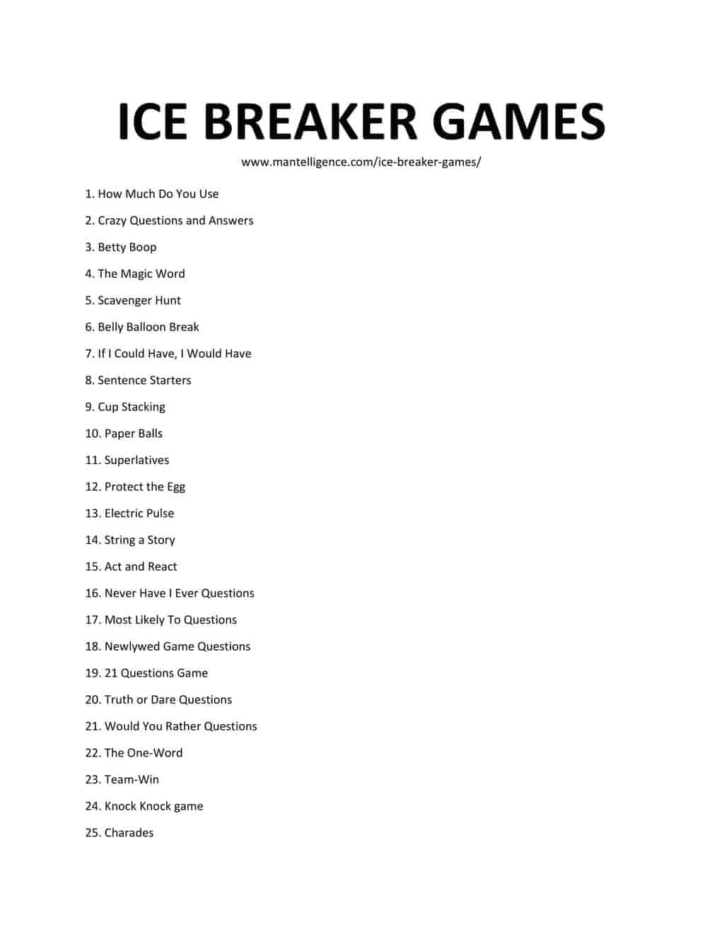 list of Ice Breaker Games