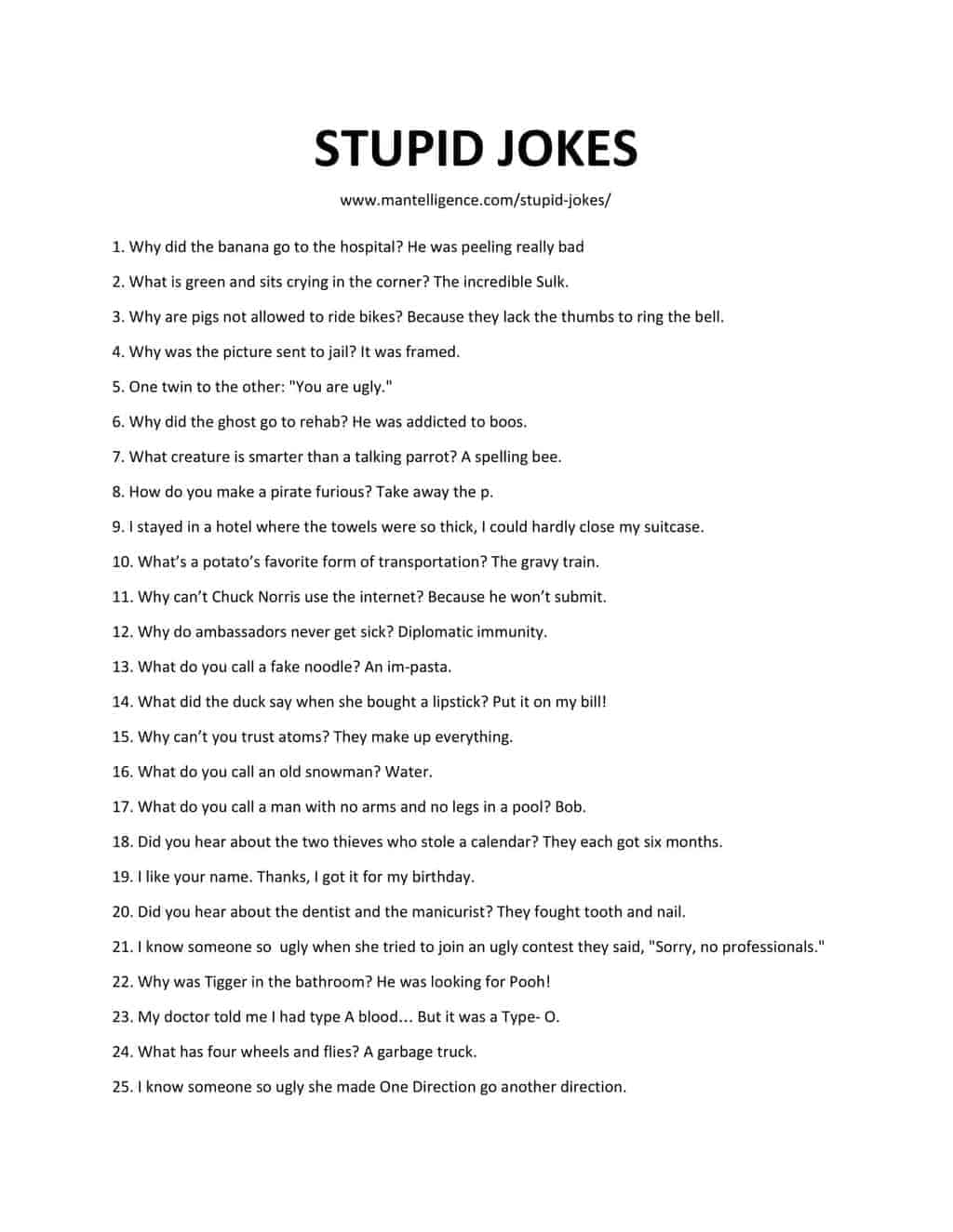 Downloadable and Printable List of Stupid Jokes as pdf or jpg