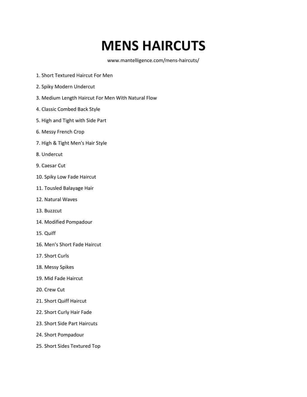 List of MENS HAIRCUTS-1