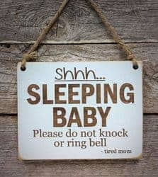 gifts for new dads - Shhh.Sleeping Baby - Small Hanging Sign