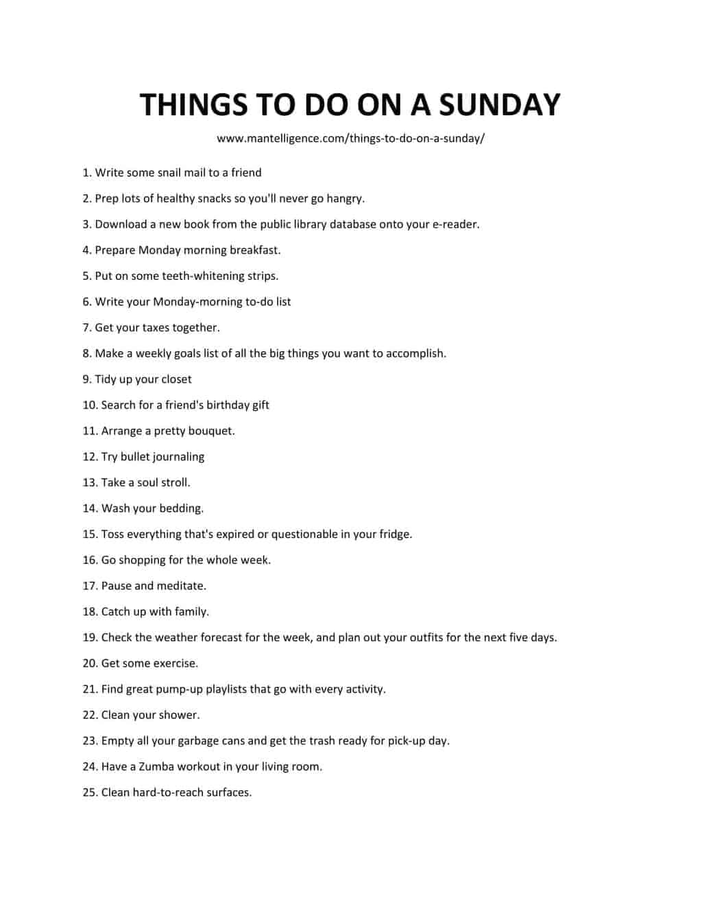 list of THINGS TO DO ON A SUNDAY1