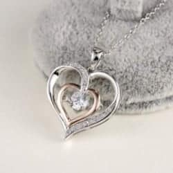 One Year Anniversary Gifts - 22. Sterling Silver Gemstone Heart Pendant Necklace