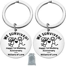 One Year Anniversary Gifts - 32. Happy Anniversary Keychain for Couple