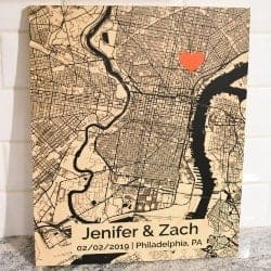 One Year Anniversary Gifts - 33. City Map Print On Wood