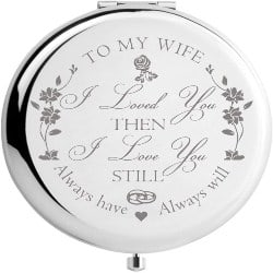One Year Anniversary Gifts - 37. travel mirror engraved with the lettering