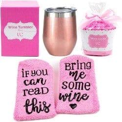 One Year Anniversary Gifts - 47. Wine Tumbler + Cupcake Wine Socks Gift Set