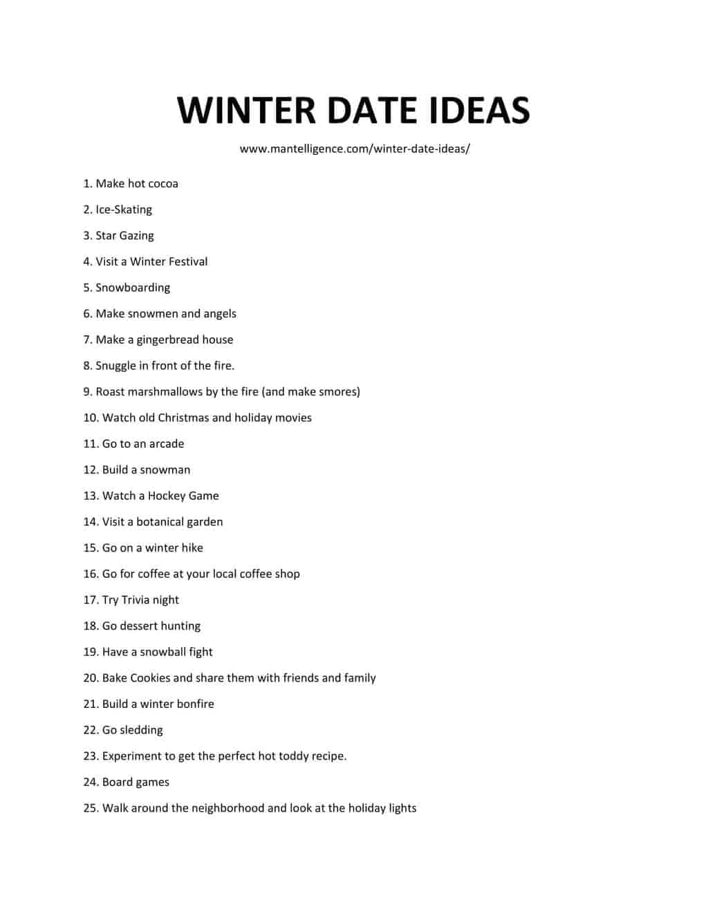 list of WINTER DATE IDEAS