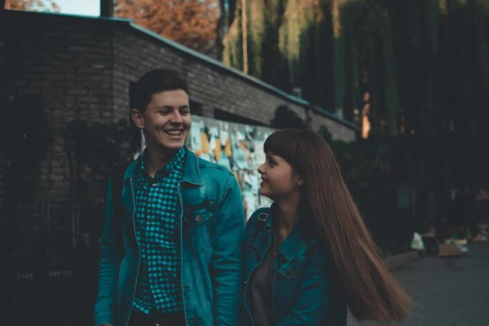 Young couple walking in the streets