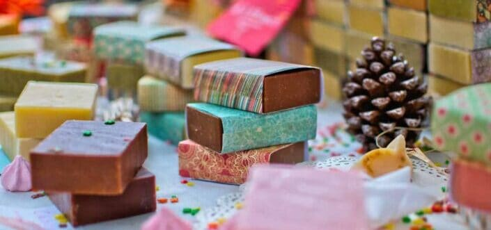 stocks of assorted bath soaps.