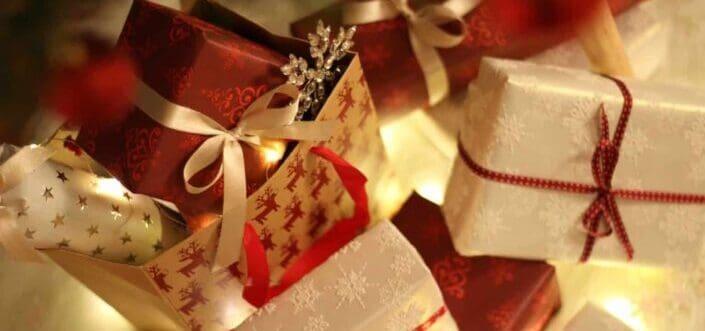 Christmas gift boxes on display.