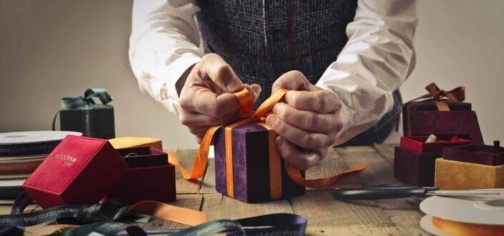 Personally wrapping small gifts.