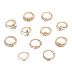 cheap stuffers - 11PCS Fashion Bohemian Retro Vintage Crystal Hollow Joint Knuckle Ring Sets