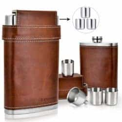 christmas gifts for brother - Stainless Steel 8oz Flask - Brown Leather with 3 Cups and Funnel