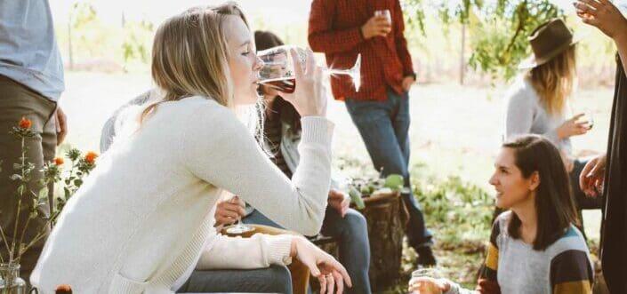 Friends drinking wine outdoor