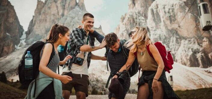 Friends having fun while hiking