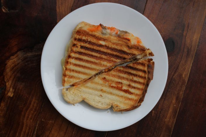 toasted bread on white plate