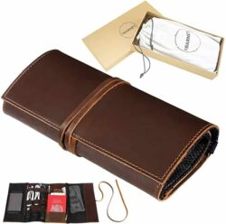 Genuine Leather Electronics Cable Organizer