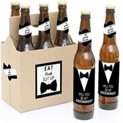 Cheap Groomsmen Gift Ideas - Beer Bottle Label Stickers and 1 Carrier