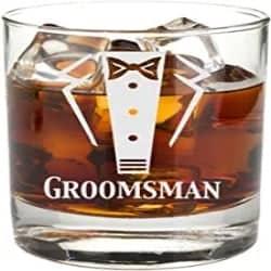Cheap Groomsmen Gift Ideas - Engraved Tuxedo 11 oz Wedding Party Rocks Glass