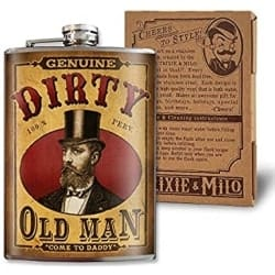 Funny Retirement Gift Ideas for Man - Dirty Old Man - 8oz Flasks For Liquor For Men (1)