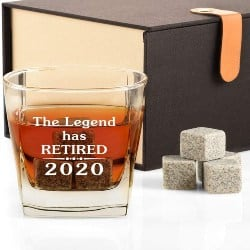 Manly Retirement Gift Ideas for Men - The Legend Has Retired Whiskey Glass and Stone Gift Set (1)